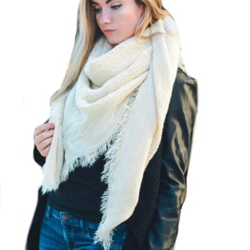 Warm Ivory Open Weave Square Scarf / Blanket