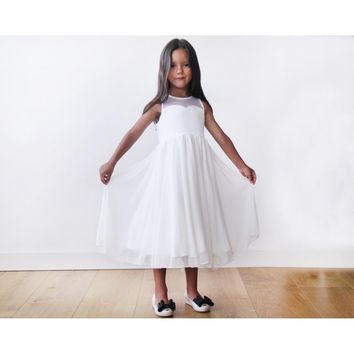 Ivory Sweetheart Illusion Tulle Girls Dress 5005