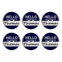 Thomas Hello My Name Is Plastic Resin Button Set of 6