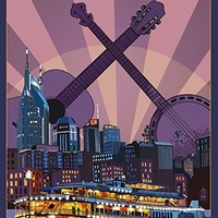 Nashville, Tennessee - Skyline at Night (9x12 Art Print, Wall Decor Travel Poster)