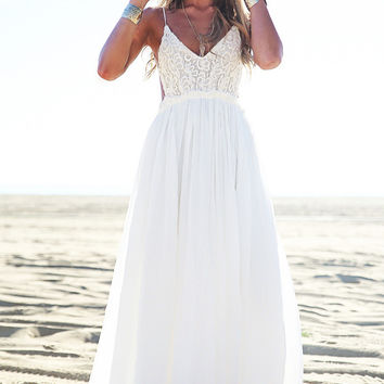 Candied Petals Maxi Dress - White