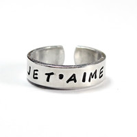 Je T'aime Ring, I Love You Ring, French Word Ring, Lovers Ring, Valentine Message Ring, Wife Girlfriend Gift