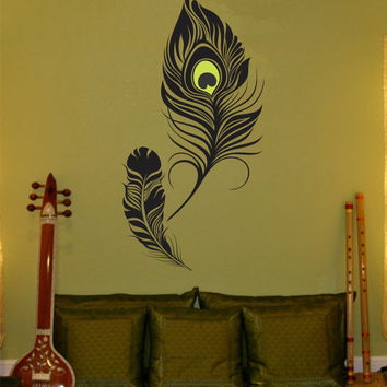 Feather Wall Decal peacock feather Vinyl Sticker Decals Art Decor Design Wall Decal girls room, birds Vinyl Wall Art