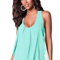 Chicloth Light Blue Chiffon Ruffle Front Tank Top