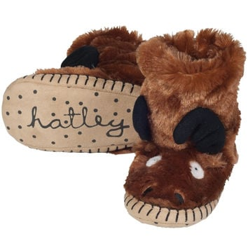 Moose Youth Fuzzy Fleece Slippers