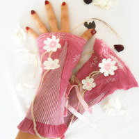 Pink gloves, pink satin gloves, graduation gift, Victorian Gloves, Gothic gloves, pink daisy gloves, wraparound wrist ornament