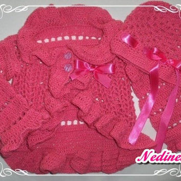 Crochet cardigan, hat set, baby girl cardigan set, crochet toddler cardigan hat set,