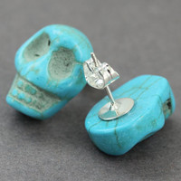 Skull Earrings : Blue Teal Turquoise Semi Precious Stones, Sterling Silver Plated Studs, Festive, Fun, Artisan Tree
