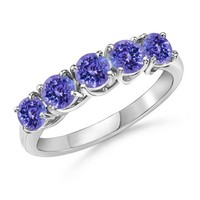 Round Tanzanite Five Stone Ring