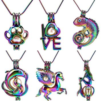 22'' Snake Chain Rainbow Pearl Cage Animal Love Horse Paw Lizard Locket Pendant Perfume Diffuser Stainless Chain Necklace