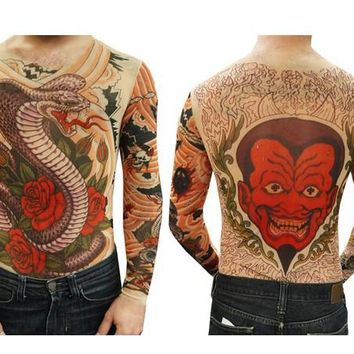 Unisex Cobra and Roses Full Body Tattoo Shirt Long Sleeves For Men/Women  Free Shipping 2017 New Fashion Summer