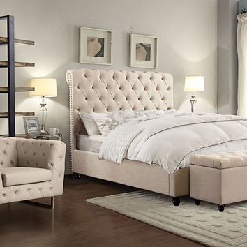 Chesterfield Cal King Tufted Bed w/ Scrolled Headboard & Nail Head Accent by Diamond Sofa - Sand Linen