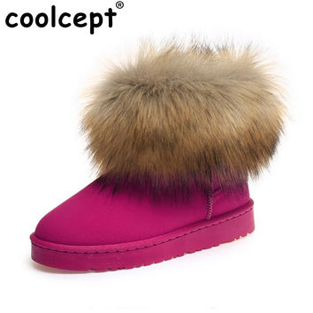 Size 35-40 Russia Winter Warm Thickened Fur Women Flat Half Short Ankle Snow Boots Plush Winter Footwear Boot Shoes W0012