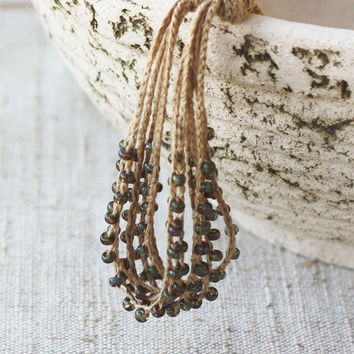 Mori girl necklace Multi strand Boho chic Bohemian jewelry Natural linen Mossy green Earthy colors Gift for her Rustic summer fashion