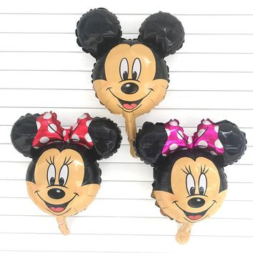 50pc Mini Mickey Minnie Mouse head foil balloon Kids Birthday Party Decoration Baby Shower Supplies Inflatable balloons