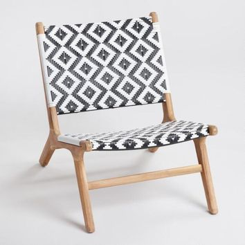 Black and White Strap Girona Outdoor Accent Chairs Set Of 2
