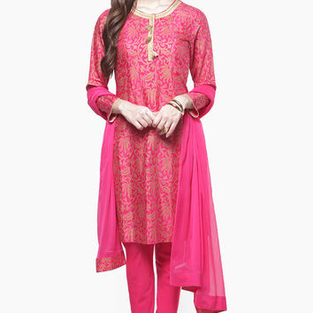 Fuchsia Suit with Golden Floral Prints