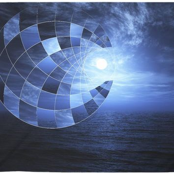 Moon Mosaic Mandala Blue Ocean Meditation Design Ocean Wall Tapestry Yoga Meditation Mandala Wall Hanging