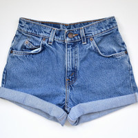 "vintage 80s LEVIS high waisted shorts /  medium wash denim / cuffed hem / size 24"" waist"