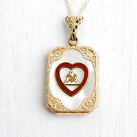 Antique Art Deco Order Of The Moose Pendant Necklace - Vintage Gold Tone 1930s Red Enamel Heart Women's Jewelry