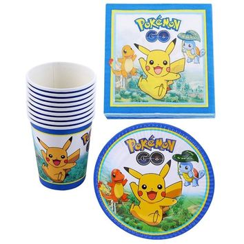 Baby Shower Kids Favors Decorate Cups Plates  Go/Pikachu Theme Paper Napkins Happy Birthday Events Party Dishes 60pcs/lotKawaii Pokemon go  AT_89_9