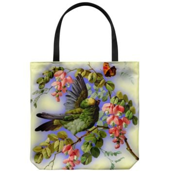 Bird And Flowers - Tote Bag