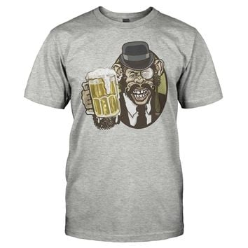 Beer Chimp With Mustache Bowler Hat And Monocle