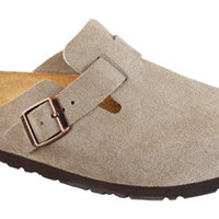 """Birkenstock <span class=""""color"""">Taupe</span> <span class=""""material"""">Suede</span> <span class=""""silhouette"""">Boston</span>"""
