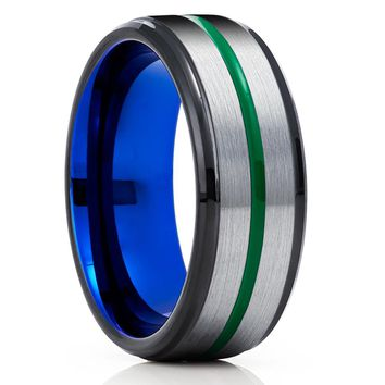 Blue Tungsten Ring - Green Tungsten Ring - Tungsten Carbide - Tungsten Wedding Band