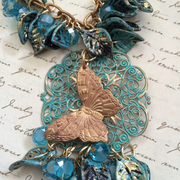 Autumn Butterfly Blue Patina and Brass Necklace