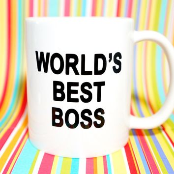 WORLD'S BEST BOSS Coffee Mug / Motivational Mug Gift / Inspirational Mug Gift / Graduation Gift / New Job Gift / New Career Gift