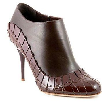 Dior Christian Serpent Brown Leather Booties Size 37.5 US 7.5