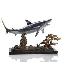 SPI Shark with Prey Brass and Marble Sculpture