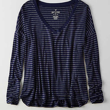 AEO Soft & Sexy Drop Shoulder T-Shirt, Navy