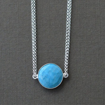 Sterling Silver Turquoise Necklace, Round Bezel Set Stone, Simple Single Stone Necklace, 16 Inch
