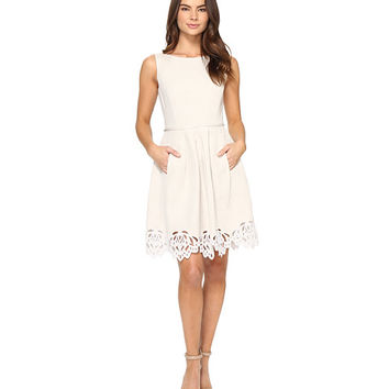Tahari by ASL Linen Fit and Flare with Embroidered Hem