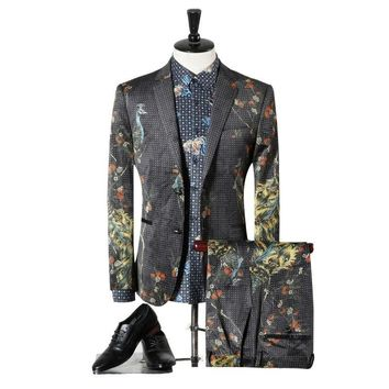 Classic Wedding Groom Fashion Peacock Print Male Prom Suits