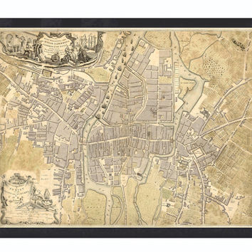 Vintage Map of Cork, Ireland 1759 Antique Vintage