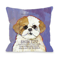 "Bentin Home Decor Shih Tzu 3 Throw Pillow Cover by Ursula Dodge, 16""x 16"", Purple/Cream"