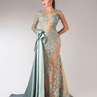 Party Dress Evening Dresses 2017 Full Sleeve One Shoulder Long Mermaid Gowns Lace Appliques Prom