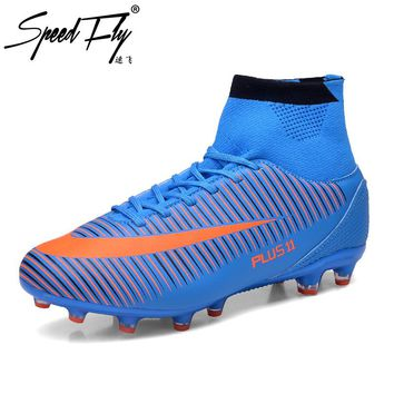 Speedfly New Arrival Football Boots FG High Ankle Superfly Soccer Shoes TF Kids Children Outdoor Futsal Sock Cleats Sneakers