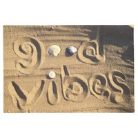 "Fun, ""Good Vibes"" Quote Drawn In Beach Sand Photo Doormat"
