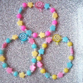 Dream Candy - Pastel Star and Lollipop Stretch Bracelets - Set of 3