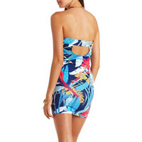 HAWAIIAN PRINT KNOTTED STRAPLESS BODYCON DRESS