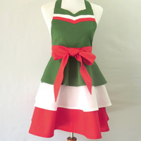Womens Green White & Red Apron, Italian Retro Apron, Italian Apron, Italian Hostess Apron, Italian Bridal Shower Gift, Personalized Apron