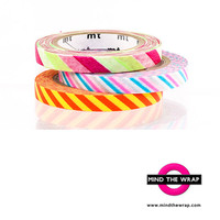 mt Slim Washi Tape set - 3 Rolls Narrow 6mm - Bright Stripes, Silver Metallic - Geat for Planners, Clothespins, Cards - Slim Twist Cord B