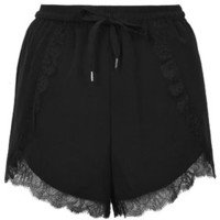 Lace Trim Runner Shorts - Black