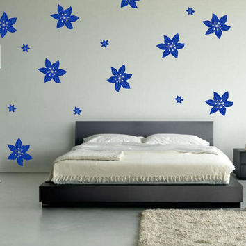Wall Art - 28 Tropical Flowers Pattern vinyl wall decal / sticker / mural removable wallpaper decor