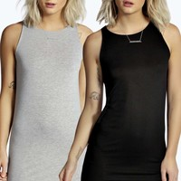 Sally 2 Pack Racer Front Bodycon Dress