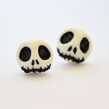 funny Skellington earrings,Halloween stud,Halloween jewelry,Holiday post earrings,unusual piercing,skull Jewelry,ear pins,Gothic earstud